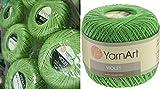 100% Mercerized Cotton Yarn Threads Crochet Lace Hand Knitting Yarn Embroidery Arts Crafts YarnArt VIOLET Lot of 6skn 300gr 1848yds Color Light Green 6369