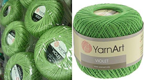100% Mercerized Cotton Yarn Threads Crochet Lace Hand Knitting Yarn Embroidery Arts Crafts YarnArt VIOLET Lot of 6skn 300gr 1848yds Color Light Green 6369 by Yarn Art
