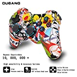 PS3 Controller Wireless Dualshock 3 - OUBANG PS3 Remote,Best DS3 Joystick Gift for Kids Bluetooth Sixaxis Gamepad for PlayStation3 with Mini Cable (Graffiti)