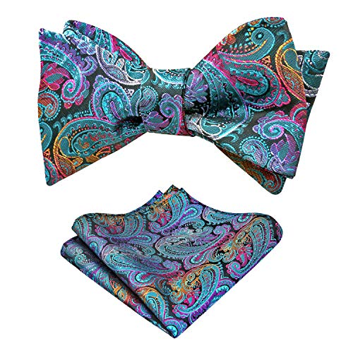 Alizeal Men's Retro Paisley Self Bow Tie and Handkerchief Set (Peacock Blue)