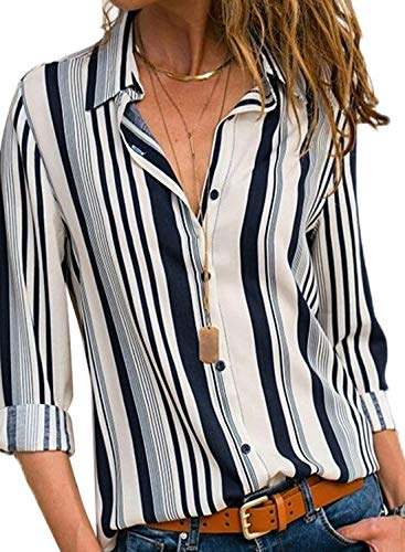Striped Button Down Shirts for Women Long Sleeve V Neck Chiffon Blouse Ladies Spring Loose Basic Tops for Work Casual White Navy M