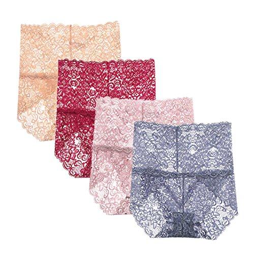 "Femaroly Women Sexy Lace Panties High Waist Body Shaper Briefs Underwear(Pack of 4) US L=Hip:39""-41"" Tag:XXL"