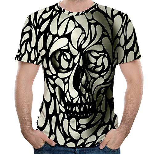 (Fartido Summer Short Sleeve T-Shirt Top Shirts for Men,New Men's Summer Fashion 3D Taro Print Tops Black)