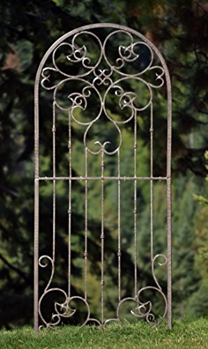 H Potter Large Garden Trellis Wrought Iron Heavy Scroll Metal Decoration Powder Coat Finish-Lawn, Patio & Wall Decor Screen for Rose, Clematis, Ivy-Assembly Required, Weather Resistant Yard (Country Garden Trellis)