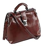 Oil Wax Leather Buckle Retro Doctor Package Leather Handbags Handbag Shoulder Messenger Bag,Red-OneSize