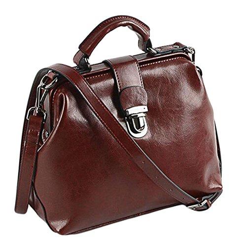 red Pétrole De Cuir Bag Cuir Docteur Paquet Sacs Main à épaule à Boucle Sac Messenger En Main Cire En Rétro nF45WHRR