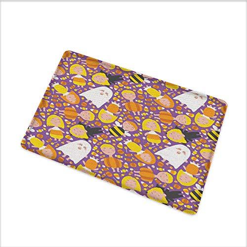 Door Mats Area Rug, Cheerful Kids in Different Halloween Costumes Happy Fun Party Trick or Treat Night, Floor mat Bath Mat with Durable Non-Slip Mildew Resistant, W31.5 x H19.5 INCH, Multicolor ()