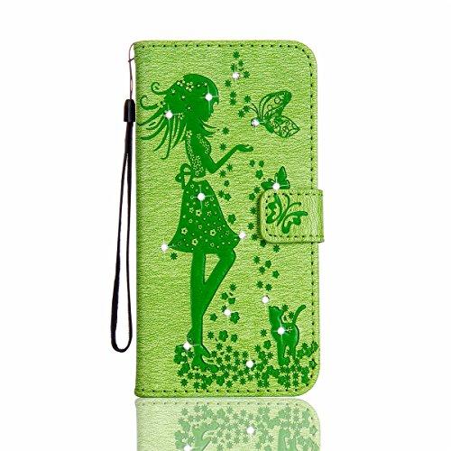 Funda iPhone 5s, Funda de brillo iPhone 5s, Lifetrut Sólido Shiny Sparkle Libro de Estilo de Cuero con Ranura para Tarjetas de Cierre Magnético Soporte Funda de Teléfono de la Función con Correa de Mu E203-Verde