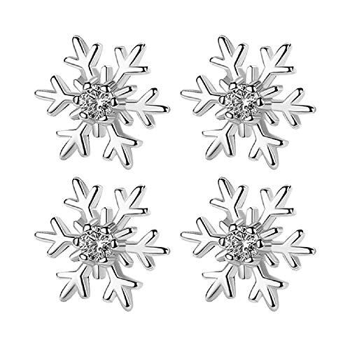 2 Pairs Fashion 10mm Silver Rhinestone Snowflake Winter Stud Earring Jewelry Xmas Gift (Earrings Snowflake Winter)
