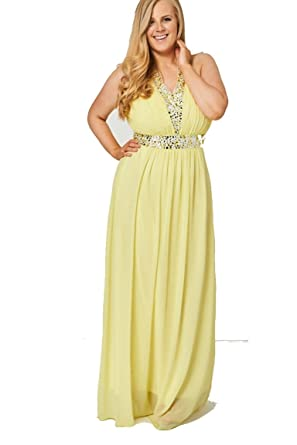 Stylish Fashion Womens Yellow Pleated Bust And Gem Halter Prom Dress -Yellow-20 (