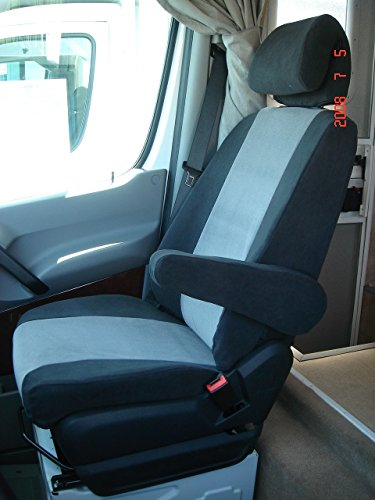Durafit Seat Covers BLACK/GRAY 2007-2009 Dodge Sprinter Commercial Van Exact Fit Seat - Van Dodge 2008 Sprinter