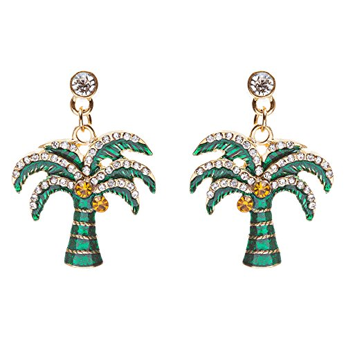 ACCESSORIESFOREVER Women Stylish Crystal Rhinestone Pretty Palm Tree Charm Earrings E861 Green Gold by Accessoriesforever (Image #2)