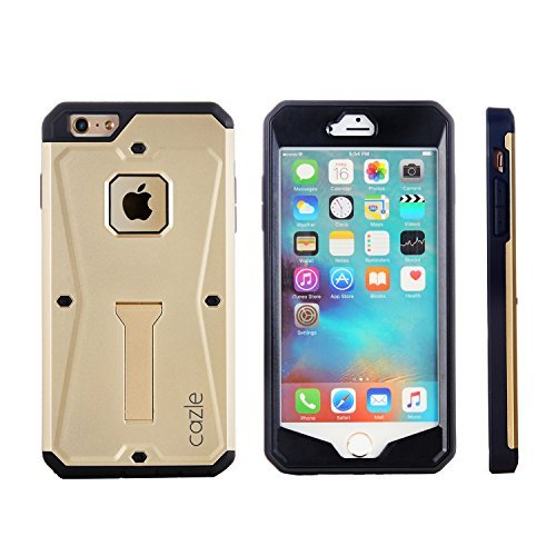iPhone 6S, iPhone 6, Tridefense Three-layer Rugged Protective Cover with Built in Screen Protector and Foldable Kickstand for Apple iPhone 6S iPhone 6 By Cazel (Gold)