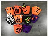 ADSRO 10Pack Halloween Trick or Treat Bag, Felt Candy Bag Halloween Candy Bucket Tote Child Gift Bag Girl Boy Spider Pumpkin Bag