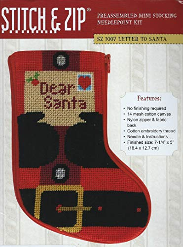 Stitch & Zip Letter to Santa Mini Stocking Needlepoint Kit
