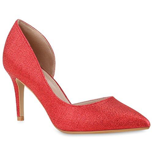 Stiefelparadies Spitze Damen Pumps Satinoptik Pailletten High Heels