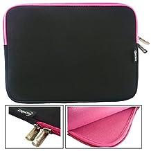 Emartbuy® Black / Pink Water Resistant Neoprene Soft Zip Case Cover Sleeve With Pink Interior & Zip Suitable for Venturer EliteWin 11.6 Inch 2-in-1 Tablet with Smart Keyboard ( 11.6 - 12.5 Inch Tablet Chromebook Laptop )