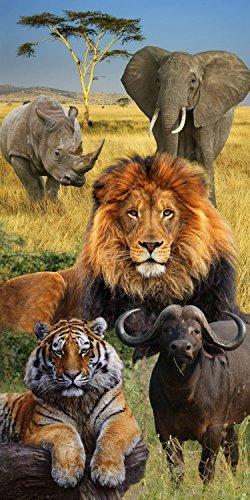 Lion Elephant Rihino Wildlife Endanger African Lion Towel