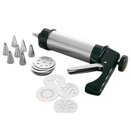Sdkmah9 - Juego de 21 piezas de pistola de glaseado – prensa de galletas de acero inoxidable – Máquina de prensa con boquillas de glaseado y discos ...