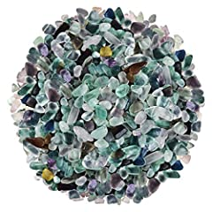 """Undrilled fluorite thumbed chip stone Weight:0.9lb(410 Gram) Size:0.5""""-1""""(15-25mm) Shape:Irregular It come with mix color and mix size and mix shape in a kraft paper bag with window."""