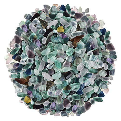 (Natural Mix Color Undrilled Fluorite Polished Gravel Stone Irregular Shaped Rocks for Fish Aquariums & Tank Decorations|Substrate for Air Plants|Vase Fillers|DIY Jewelry|Wish Bottles Fillers|410 Grams)
