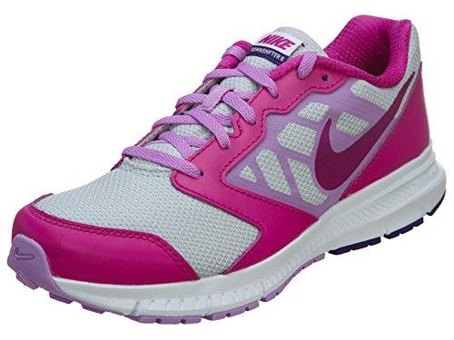 NIKE Kids' Downshifter 6 (GS/PS) Running Shoes Pure Platinum/Fuchsia Glow/Fuchsia Flash/Court Purple