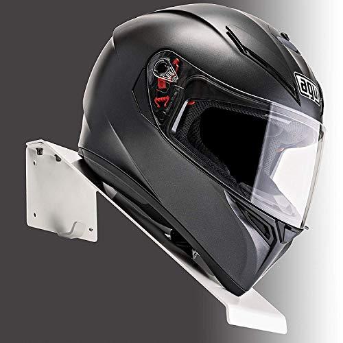 BESTUNT Helmet Hanger | for Motorcycle Holder Shelf Rack Storage Fixation | Mount on Wall (White)
