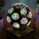 Hitommy 3D USB Fancy Bright Fireworks LED Night Light Glass Ball Magic Desk Lamp Home Room Decor - Rose