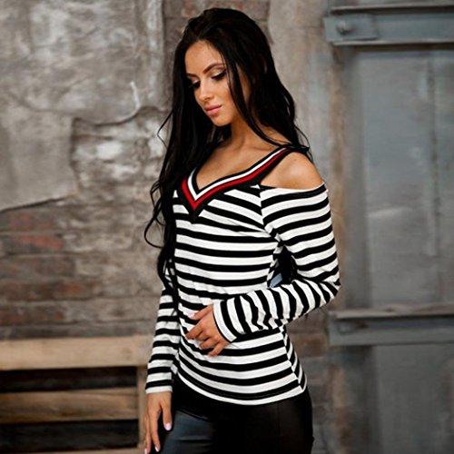 Vovotrade Nuevo Mujer Cuello en V Raya Impreso Fuera del hombro Manga larga Camisa Tops camiseta Blusa negro