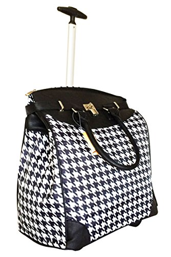 Trendy Flyer Computer/Laptop Rolling Bag 2 Wheel Case Houndstooth Black ()