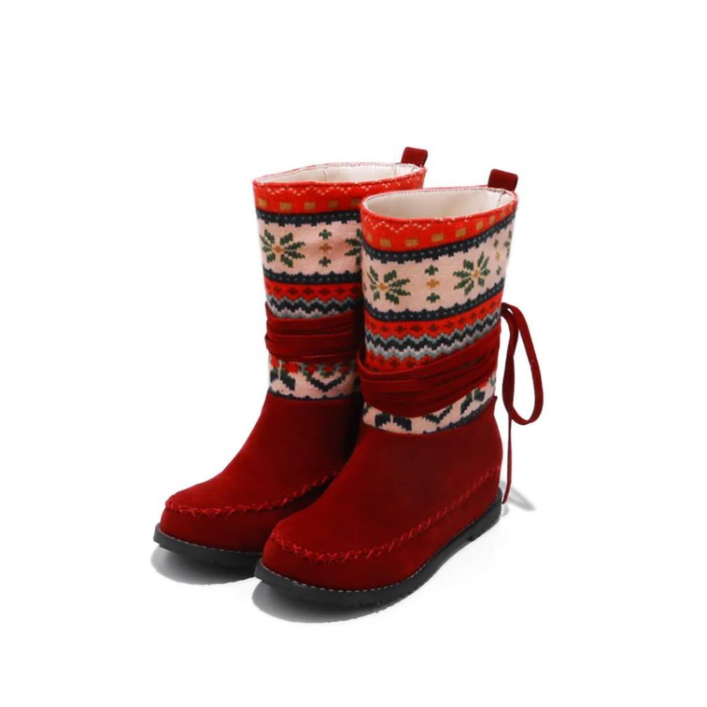 Hy Damen Stiefelies Stiefelies Stiefelies Herbst Winter Wildleder Lässig Flache Ferse Stiefelies Damen National Wind Large Größe Stiefel Stiefeletten (Farbe   EIN Größe   39) e60297