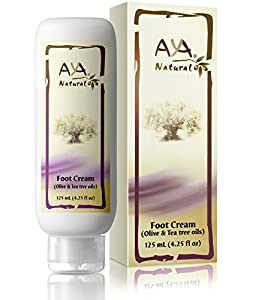 Natural Foot Cream for Cracked Feet - Vegan Premium Moisturizer for Dry Heels 4.25 oz - Shea, Olive, Jojoba and Tea Tree Oils Blend