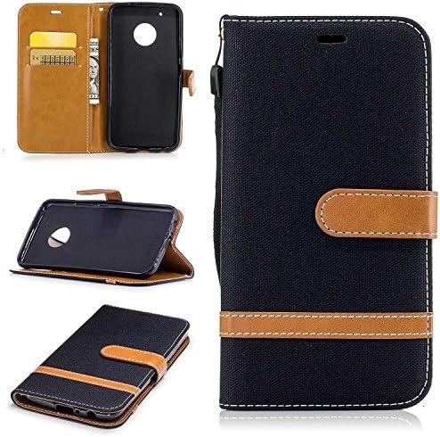 Moto G5 Plus ケース, Zeebox® PUレザー ス手帳 財布型カバー, Moto G5 Plus 対応 女性向 スマートフォンケース, 耐摩擦 耐衝撃 360°保護 財布型 ケース, スタンド機能 マグネット開閉式, 黒