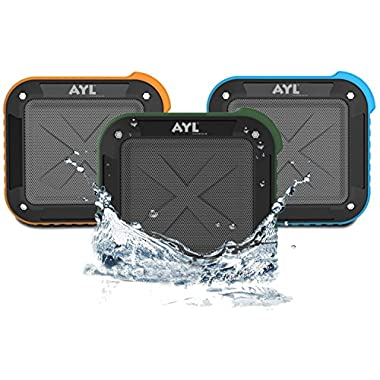 Portable Outdoor and Shower Bluetooth 4.0 Speaker by AYL SoundFit, Waterproof, Wireless with 10 Hour Rechargeable Battery Life, Powerful 5W Audio Driver, Pairs with All Bluetooth Devices