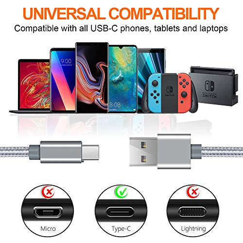 USB C Cable, Compatible with PS5 Controller, L&H E 4Pack (3/6/6/10FT) 3A Fast Charging Charger Cable, Compatible with Nintendo Switch/Lite, PS5, Xbox Series X Controller-Space Gray