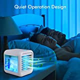 Personal Air Cooler - Portable Air Conditioner with Icebox, USB Desk Fan with 3 Speeds, Evaporative Air Cooler for Home, Office & Outdoor Use, Air Humidifier, USB Charging, 7 Light Colors, Quiet