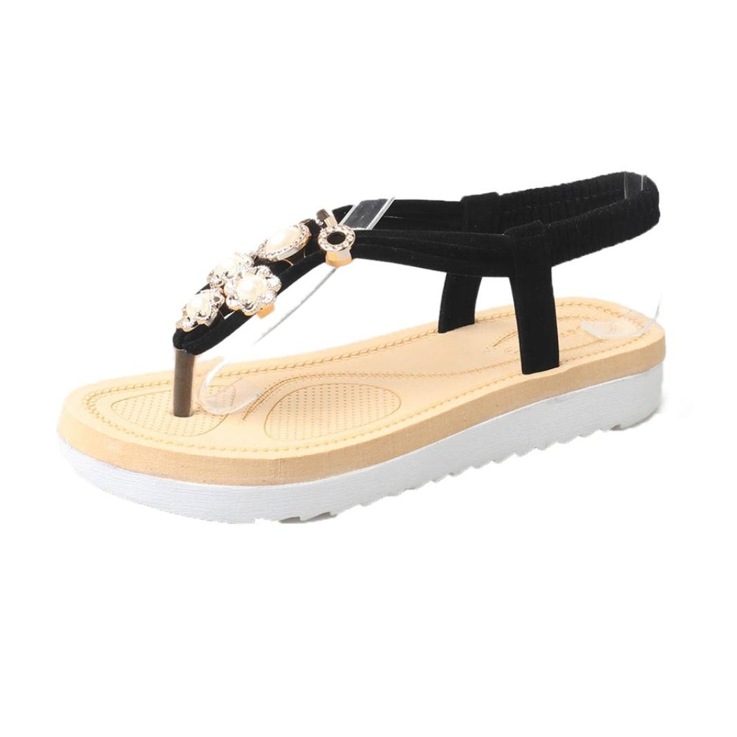Lookatool Women Thick Soled Sandals Summer Students Slip Flat Muffin Leisure Women Sandals B073XCXCBY 6 B(M) US|Black