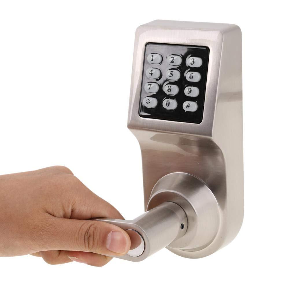 4 en 1 Cerradura Electr/ónica de Puerta por Contrase/ña Tarjeta RF Control Remoto Llave Mec/ánica para Entrada Seguridad de Hogar Oficina Hotel