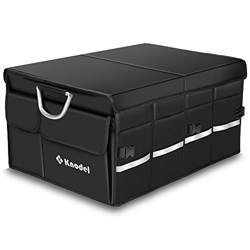 Knodel Sturdy Car Trunk Organizer with Foldable Cover, Heavy Duty Collapsible Cargo Storage Container, Multipurpose Portable Storage Bin and Carrier for Car, Waterproof ()