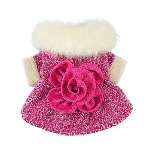 Fitwarm Elegant Pink Floral Faux Furred Dog Coats Pet Clothes Winter Dresses, - Coat Pet Dog Dress