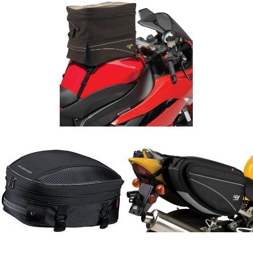 Nelson-Rigg CL-903 Black Expandable Tank/Tail Bag,  CL-1060-S Black Sport Tail/Seat Pack,  and  CL-950 Black Deluxe Sport Touring Saddle Bag Bundle