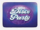 Ambesonne 70s Party Bath Mat, Retro Lettering on Disco Ball Night Club Theme Dance and Music Art Print, Plush Bathroom Decor Mat with Non Slip Backing, 29.5 W X 17.5 W Inches, Purple Blue White