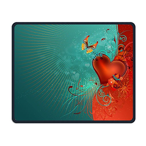 Mouse Pad Love Heart Clipart Background Rectangle Rubber Mousepad Length 8.66 Width 7.09 inch Gaming Mouse Pad with Black Lock Edge ()
