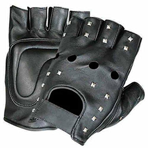 UPC 643451347159, Allstate Leather Leather Fingerless Motorcycle Gloves with Studs L Black