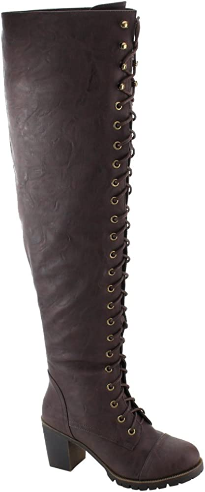 SHOEDEZIGNS Illusion 01 OK Womens Thigh High Lace UP Chunk Heel Combat Boots