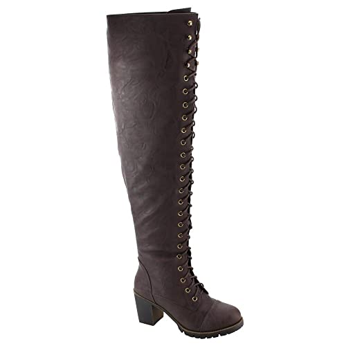 4a88a39a5ff Shoe Dezigns Illusion 01 Ok Womens Thigh High Lace Up Chunk Heel Combat  Boots  Amazon.ca  Shoes   Handbags
