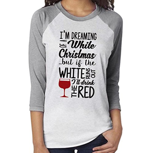 Mallcas New Merry Christmas Fashion Women Letter Print Tops Long Sleeve O-Neck Casual A-line Tunic Blouse T-Shirt Pullover (White, L)