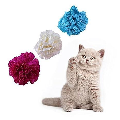 Macrorun - Juego de 12 bolas de papel para gatos, juguetes interactivos para gatos, juguetes para masticar: Amazon.es: Productos para mascotas