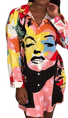 Rosa Lungo Risvolto Tee Floreali Vestito Shirt Stampate Splicing Comodi Maniche Donne vaSExpwK