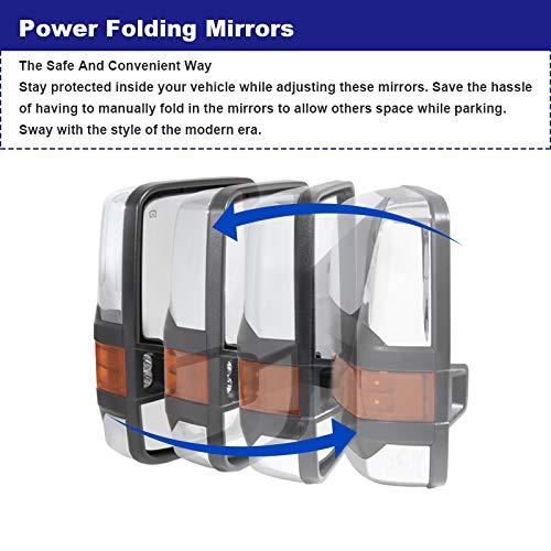 Chevy Silverado GMC Sierra POWER FOLDING+HEAT Extended Tow Mirrors w//LED Signal